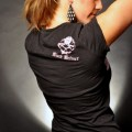 Black Helmet Apparel - Pink Skull Ladies Firefighter T